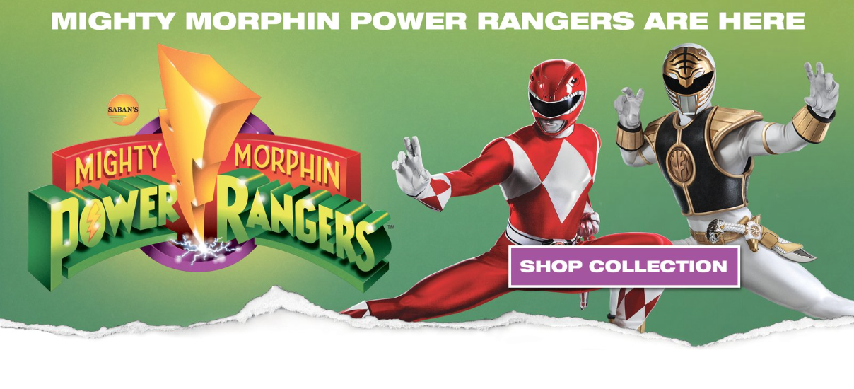 Mighty Morphin Power Rangers cuffs in complete white